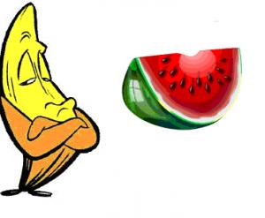 watermelon vs banana